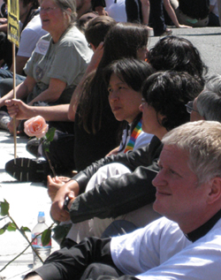 Rev. Deborah Lee and three other PSR staff people were arrested in act of civil disobedience on May 26, 2009, following the California Supreme Court's decision to uphold a constitutional amendment that denies the full equality of same-sex couples under the law.