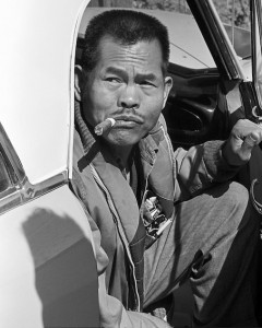 Larry Itliong, arriving at AWOC meeting in Central Valley. ©1976 George Ballis/Take Stock / The Image Works